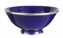 Moroccan Ceramic Bowl Blue Cobalt with Silver Edge Large Handmade 30 cm / 11.8""